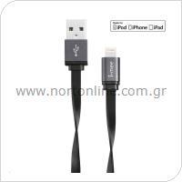 Καλώδιο Σύνδεσης USB 2.0 imee Metallic USB A σε MFI Lightning 1m Μαύρο